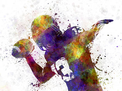 Playing Football Painting - American Football Player Quarterback Passing Portrait Silhouette by Pablo Romero