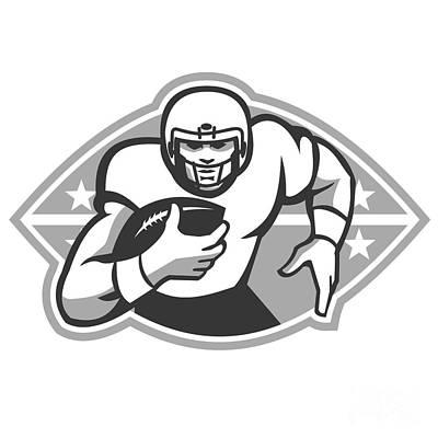 American Football Player Running Back Grayscale Art Print
