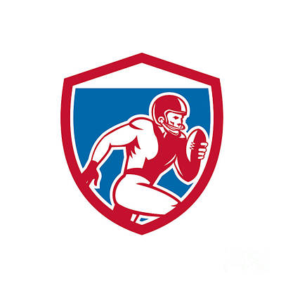 Tailback Digital Art - American Football Player Running Shield Retro by Aloysius Patrimonio