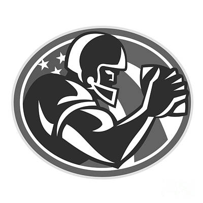 Tailback Digital Art - American Football Player Side View Grayscale by Aloysius Patrimonio