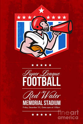 Sports Royalty-Free and Rights-Managed Images - American Football Quarterback Bullhorn Poster Art by Aloysius Patrimonio