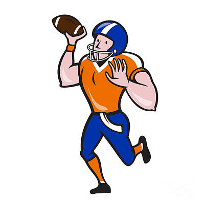 American Football Quarterback Throw Ball Isolated Cartoon Print by Aloysius Patrimonio