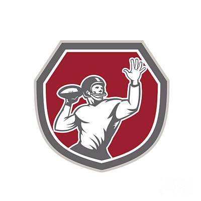 Throwing Digital Art - American Football Quarterback Throw Ball Shield Retro by Aloysius Patrimonio