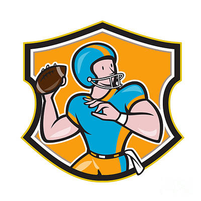 American Football Quarterback Throw Shield Cartoon Print by Aloysius Patrimonio