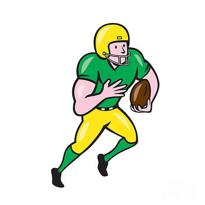 Tailback Digital Art - American Football Receiver Running Ball Cartoon by Aloysius Patrimonio