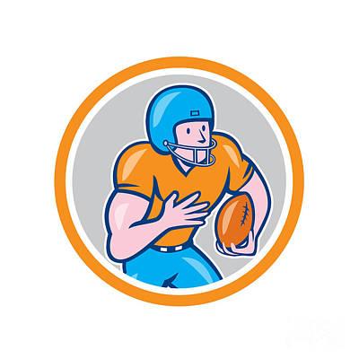 Halfback Digital Art - American Football Receiver Running Ball Circle Shield by Aloysius Patrimonio