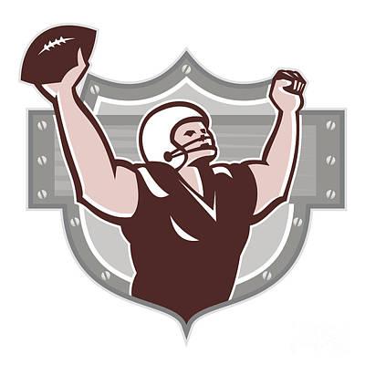 Tailback Digital Art - American Football Receiver Touchdown Retro by Aloysius Patrimonio