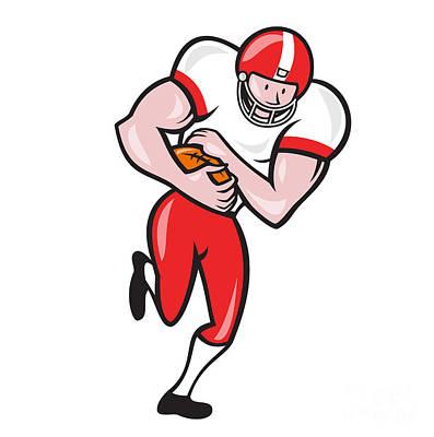 Landmarks Royalty Free Images - American Football Running Back Ball Cartoon Royalty-Free Image by Aloysius Patrimonio