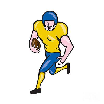 Scat Back Digital Art - American Football Running Back Cartoon by Aloysius Patrimonio