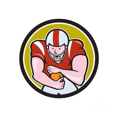 Tailback Digital Art - American Football Running Back Circle Cartoon by Aloysius Patrimonio
