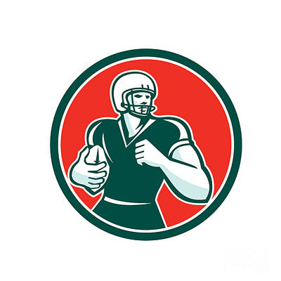 American Football Running Back Circle Retro Art Print