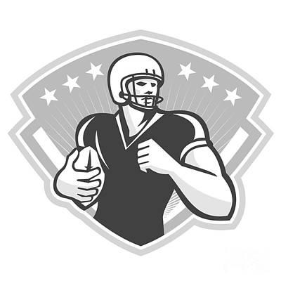 American Football Running Back Crest Grayscale Art Print