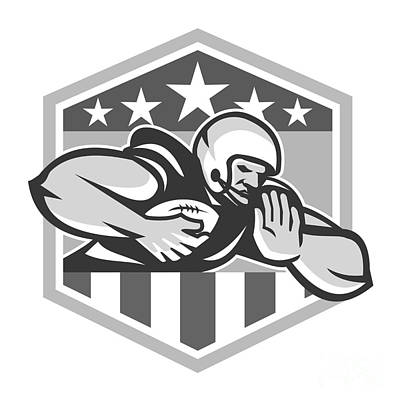 American Football Running Back Fend-off Crest Grayscale Art Print