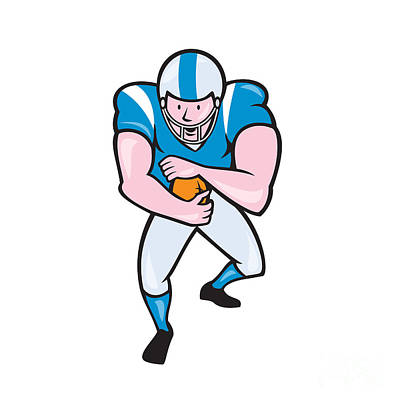 Tailback Digital Art - American Football Running Back Fending Cartoon by Aloysius Patrimonio