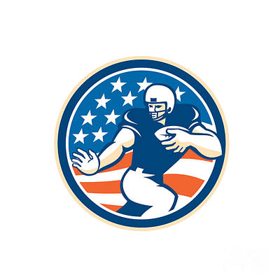 American Football Running Back Fending Circle Art Print