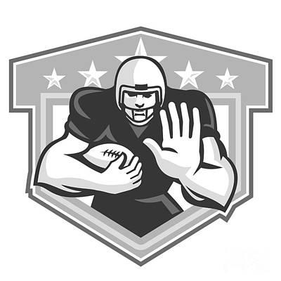 Scat Back Digital Art - American Football Running Back Fending Grayscale by Aloysius Patrimonio
