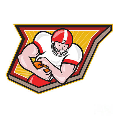 Landmarks Royalty Free Images - American Football Running Back Run Shield Cartoon Royalty-Free Image by Aloysius Patrimonio