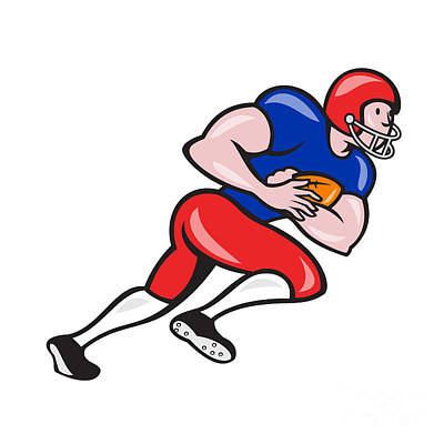 Tailback Digital Art - American Football Running Back Rushing by Aloysius Patrimonio