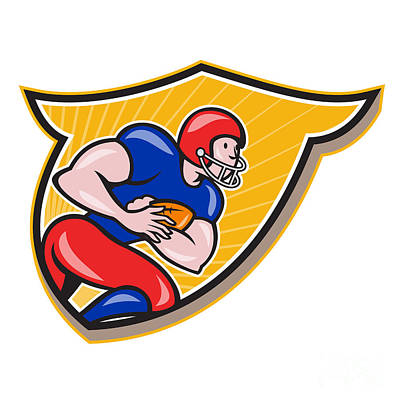 Tailback Digital Art - American Football Running Back Rushing Shield Cartoon by Aloysius Patrimonio