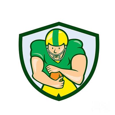 Scat Back Digital Art - American Football Running Back Shield Cartoon by Aloysius Patrimonio
