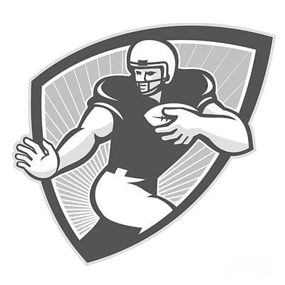 Tailback Digital Art - American Football Running Back Shield Grayscale by Aloysius Patrimonio