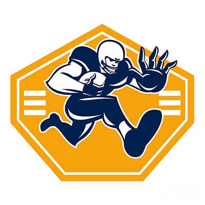 Scat Back Digital Art - American Football Running Back Stiff Arm by Aloysius Patrimonio
