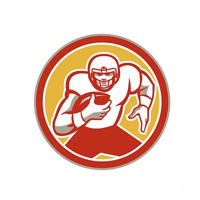 Tailback Digital Art - American Football Running Ball Circle Retro by Aloysius Patrimonio