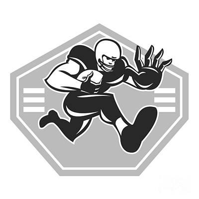 Stiff Digital Art - American Football Running Stiff Arm Grayscale by Aloysius Patrimonio