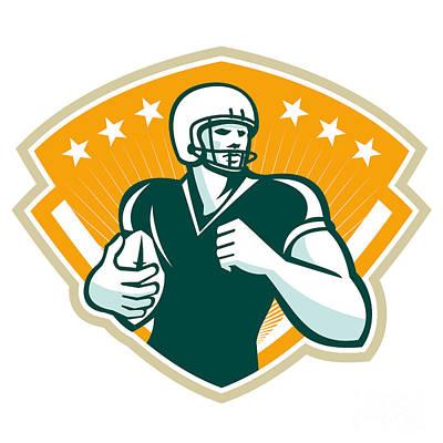 American Football Runningback Crest Art Print