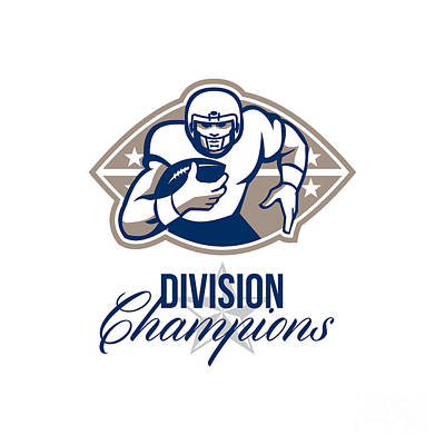 North American Football Digital Art - American Football Runningback Division Champions by Aloysius Patrimonio