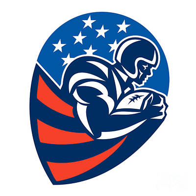 Scat Back Digital Art - American Football Rushing Running Back  by Aloysius Patrimonio