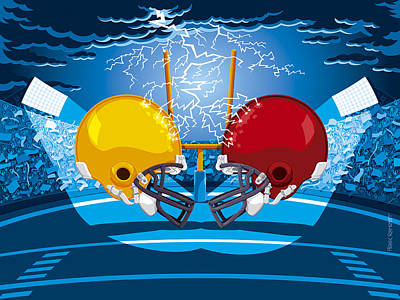 American Football Drawing - American Football Stadium Helmet Lightning by Frank Ramspott