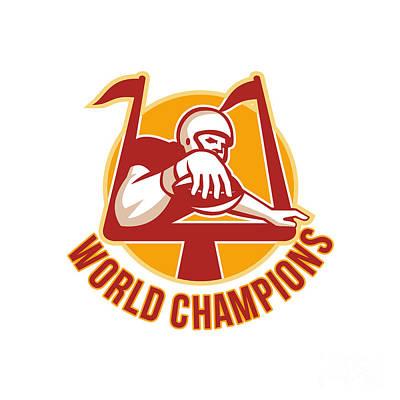 Scoring Digital Art - American Football Touchdown World Champions by Aloysius Patrimonio
