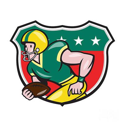 American Football Wide Receiver Running Ball Shield Art Print