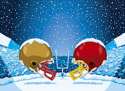 American Football Digital Art - American Football Winter Snow Helmet Stadium by Frank Ramspott