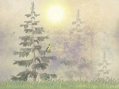 American Goldfinch Morning Mist  Art Print by David Dehner