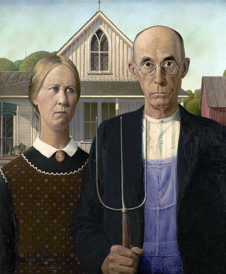 Pitch Forks Photograph - American Gothic By Grant Wood  1930 by Daniel Hagerman