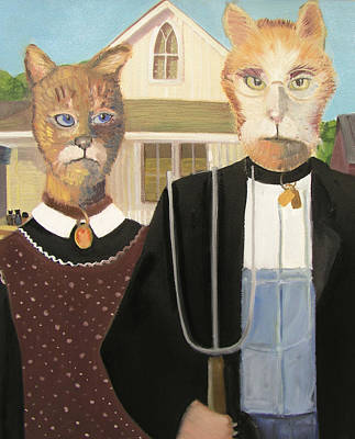 American Gothic Cat Art Print by G Kitty Hansen