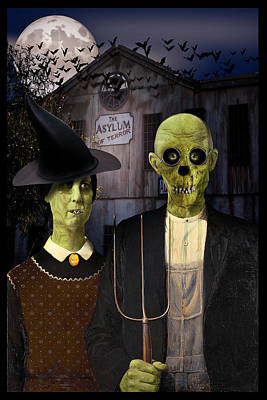 American Gothic Halloween Art Print by Gravityx9  Designs