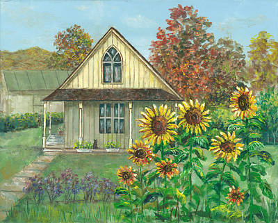Painting - American Gothic House And Sunflowers by Lou Ann Bagnall