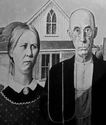 Photograph - American Gothic In Black And White 1 by Rob Hans