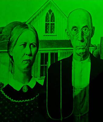 Irish Country Scenes Digital Art - American Gothic In Green by Rob Hans