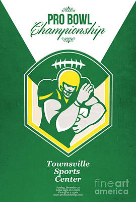 Tailback Digital Art - American Gridiron Pro Championship Poster by Aloysius Patrimonio