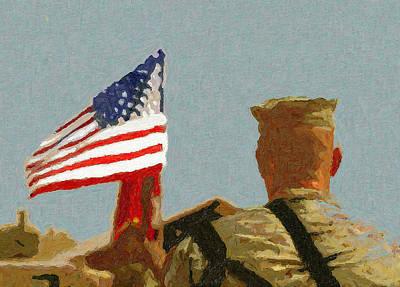 Iraq Painting - American Hero In The Desert by John Farr