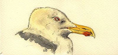 Sea Birds Painting - American Herring Gull by Juan  Bosco