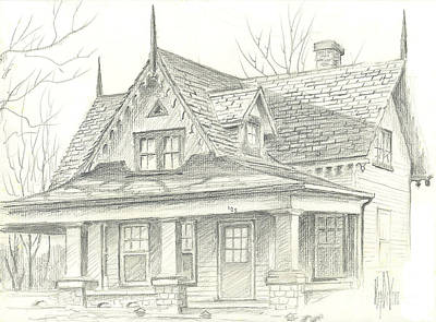 Arcadia Valley Drawing - American Home by Kip DeVore