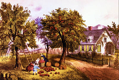 Homestead Digital Art - American Homestead Autumn by Currier and Ives
