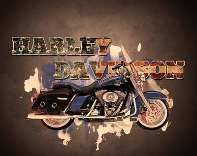 Digital Art - American Icon - Harley Davidson by Guy Dicarlo