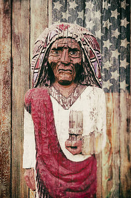 Landmarks Royalty Free Images - American Icon - The wooden Indian Royalty-Free Image by Carter Jones