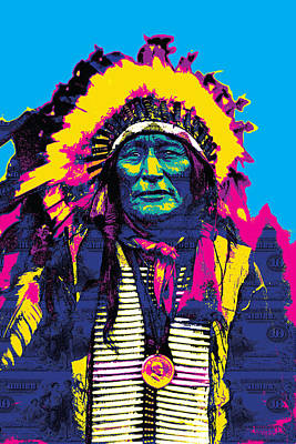 Digital Art Design Digital Art - American Indian Chief by Gary Grayson